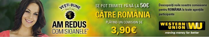 Western Union oferă servicii rapide, transfer de bani din Franta in Romania